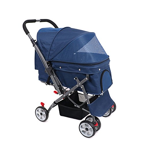 IREENUO Pet Trolley Cart, 4 Wheels Foldable Pram for Cat Dog, 360° Rotation Front Wheel Pet Travel Stroller, Quick Folding, Max Loading 30kg - Blue