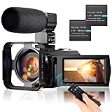 """Video Camera Camcorder YouTube Vlogging Camera FHD 1080P 30FPS 24MP 16X Digital Zoom 3"""" LCD 270 Degrees Rotatable LCD Digital Camera Recorder with Microphone,2.4G Remote Control,2 Batteries"""