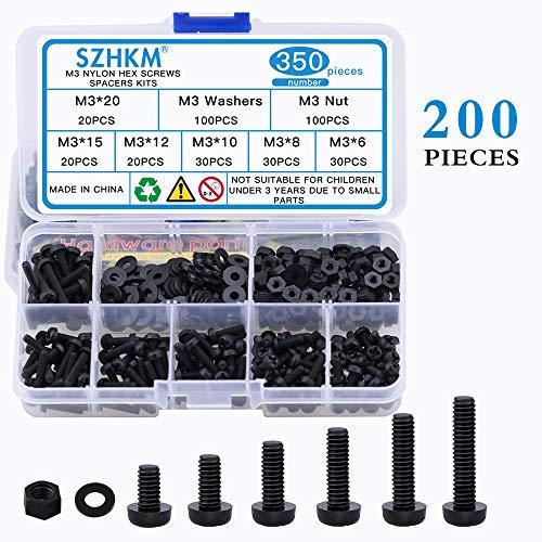 SZHKM M3 Nylon Screws Nylon Hex Nut Nylon Washer Black Plastic Screws and Nuts Kit Assortment Box NL3-06 350Pcs