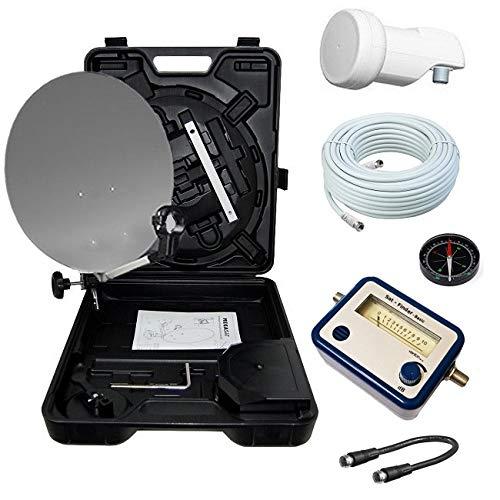 netshop 25 HD Camping Sat Anlage im Koffer 35cm Schüssel mit Opticum Single LNB 0,1dB und 10m Anschlusskabel sowie einem digital SAT Finder. Einsatz mobil für SD und HD Empfang per Satellit.