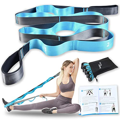 Relax Tony Stretching Strap with Loops for Yoga, Physical Therapy & Flexibility Exercises | Non-Elastic 12 Loops Stretch Band + Bonus Illustrated Workout Guide (Blue)