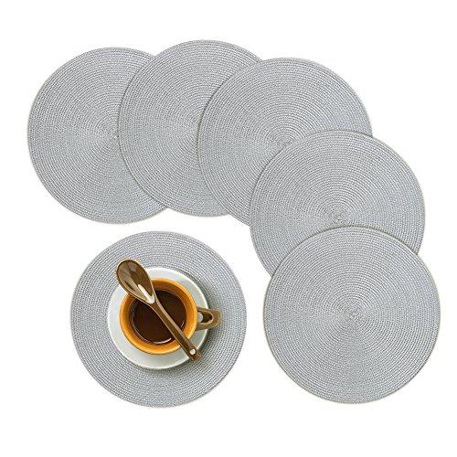 Homcomodar Platzsets Rund Grau Tischsets Set von 6 Hitzebeständigem Tisch Tischsets Waschbar für Küche Abendessen 34cm