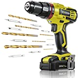 CACOOP 20V 1/2 Inch Cordless Hammer Drill Set with Battery,3-in-1 Battery Powered Impact Drill with Hammer Function,Keyless Metal Chuck