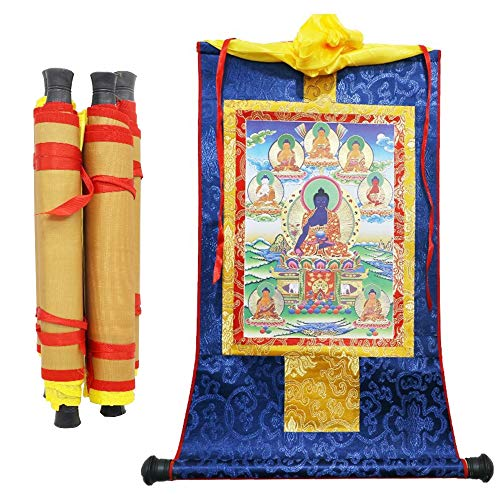 Gandhanra Tibetan Tantric Thangka Portrait-Bhaisajya(Buddha of Medicine), Silk Embroidery Hot Stamping Brocade Painting with Scroll, Patron saint Wall Hanging for Home Decor Tapestry Meditation