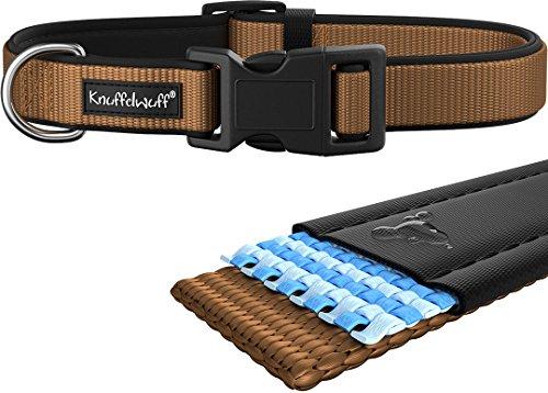 Knuffelwuff 13948-004 Hundehalsband Halsband Hund Neopren gepolstert, beige, 35-50cm