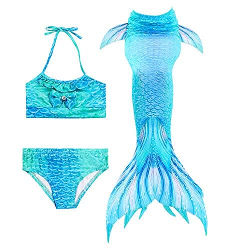 Hifunbay mädchen Meerjungfrau Schwanz Kinder Schwimmen Kostüm Enthalten 3 STÜCKE Bikini Badeanzug (DH06,140)