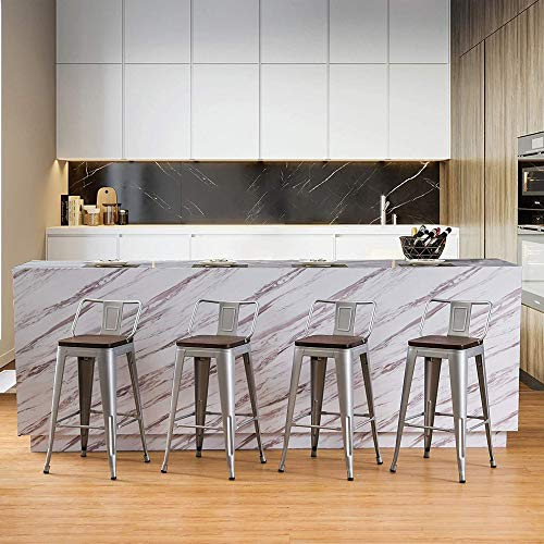 Bar Stools Counter Height Stools Industrial Style Metal Barstools with Wooden Seats Set of 4 (24 Inch, Silver with Wooden Seats)