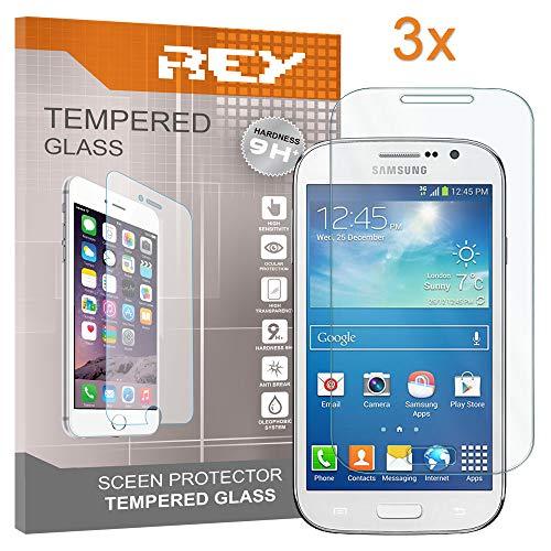 REY 3X Protector de Pantalla para Samsung Galaxy Core Prime G3606, Cristal Vidrio Templado Premium