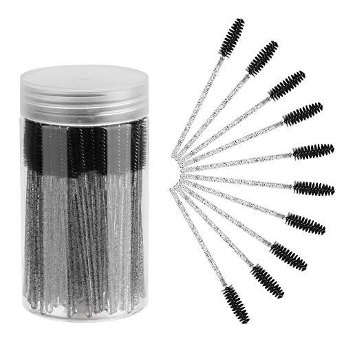 ChefBee 100PCS Disposable Eyelash Brush, Mascara Wands Makeup Brushes Applicators Kits for Eyelash Extensions and Eyebrow Brush with Container (Crystal Black)