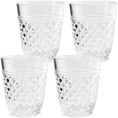 PG Drinkware CollectionPremium Quality Super Clear Acrylic 14oz Plastic Water Tumblers  Set 4