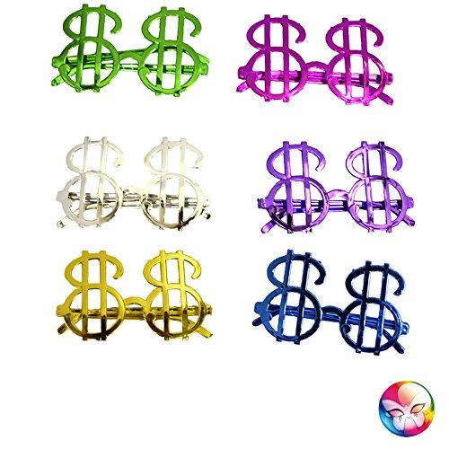Aptafêtes - AC1116 - Lunettes dollar sans verres couleurs assorties