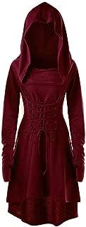 Aniywn Halloween Dress,Women Steampunk Gothic Costumes Lace Up Long Sleeve Hooded Cloak Midi Dresses