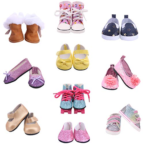 ZWSISU 10 Pairs of Doll Shoes Doll Accessories A Variety of Styles Shoes for 18 Inch American Girl Doll,My Our Life Generation Doll and Other 18 Inch Dolls
