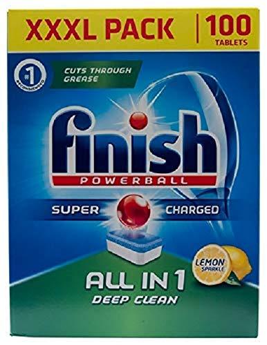 Finish Tabletas de lavavajillas todo en 1 Powerball XXXL Limón, 100 tabletas