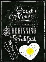 おはようございます朝食から始まる素晴らしい一日をお過ごしください、ブリキのかんばん、ヴィンテージ鉄絵のメタルプレートノベルティ装飾クラブカフェバー