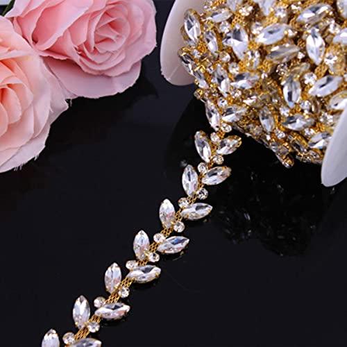 Elegante de oro rosa de moda de cristal de diamantes de imitación de la cadena de la copa de ajuste de la decoración del vestido de novia para los vestidos de boda de la ropa de adorno de apliques