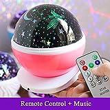HQFC LED Lámpara Proyector Estrellas Luz Nocturna Infantil Inteligente Control Remoto Control 8 Canciones 4 Proyecciones Mixtas Mono y Multicolores con Rotación Fantástica Colorido