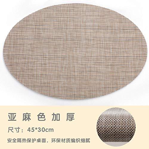 Placemat Oval kunststof anti-slip isolatie tafelmat Western restaurant onderzetter Pure PVC waterdichte isolatiemat Multifunctionele plaat mat 4-delige set
