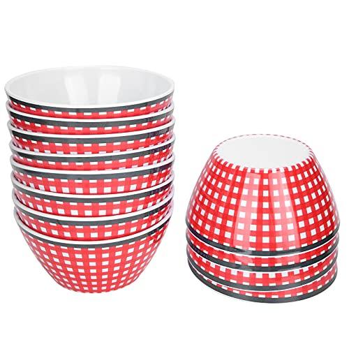 SALUTUY Cuenco de Comida de Porcelana de imitación para Ensalada, Pasta, Ramen, Fruta, Postre, Sopa(Cuadros Rojos)