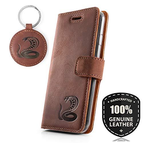 SURAZO Graphit Kobra - Premium Vintage Ledertasche Schutzhülle Wallet Case aus Echtesleder Nubukleder Farbe Nussbraun für Sony Xperia Z5 Premium (5,50 Zoll)