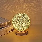 UNISOPH Lámpara de mesa de madera, lámpara de mesa USB con pantalla esférica de ratán hecho a mano, lámpara de luna de madera para dormitorio, decoración de mesilla (blanco)