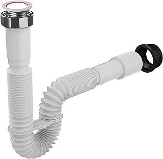 Flexibler Siphon/Ablaufschlauch 1 1/4 Siphon für Waschbecken, Röhrensiphon aus Kunststoff | 5/4- Durchmesser 32/40mm, Ablaufgarnitur für Waschtisch, Ausziehbar von 39-83 cm