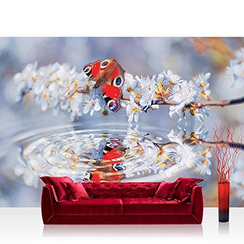 Vlies Fototapete 300x210 cm PREMIUM PLUS Wand Foto Tapete Wand Bild Vliestapete - Tiere Tapete Schmetterling Blüten Wasser rot - no. 271