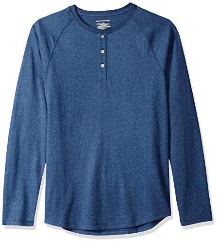 Amazon Essentials - Camiseta ajustada Henley de manga larga para hombre, Azul (Blue Heather), US M (EU M)