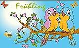 Fanshop Lünen Fahne - Flagge - Frühling - Vogel - (Garten, Blumen, Biene,Vögel) - 90x150 cm - Hissfahne mit Ösen - Sommer -