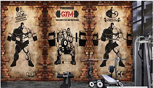 Tapete Fototapete Gym Tapetes 3D Nostalgische Backsteinmauer Vintage Sport Fitness Club Gewichtheben Hintergrund 3D Foto Fototapete 250 * 175Cm