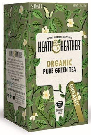 Pure Organic Green Tea  20 Tea Bags  All-Natural Tea with No Additives/Sugar  Vegan, Vegetarian Allergen-Free, Kosher & 100% USDA Certified Organic Chai