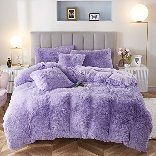 Uhamho Faux Fur Velvet Fluffy Bedding Duvet Cover Set Down Comforter Quilt Cover with Pillow Shams, Ultra Soft Warm and Durable (Lilac, Queen)