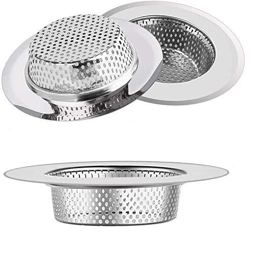 ZOCONE Filtro Lavandino, 3 PCS Acciaio Filtro Lavello Cucina Filtro per Lavandino Universale Colino da Lavello Cucina Sink Strainer per Cucina, Doccia, Vasca da Bagno