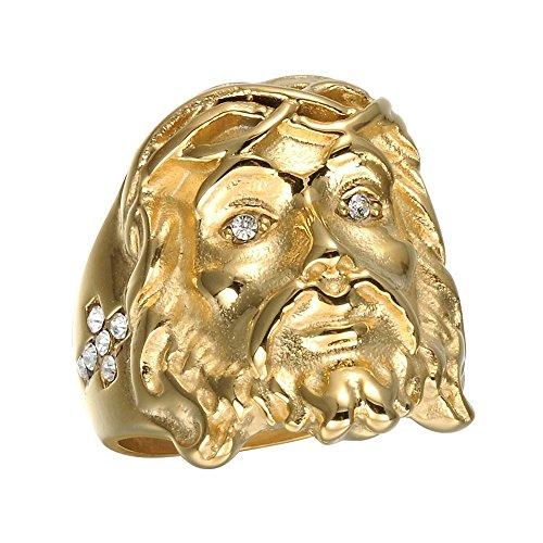 BOBIJOO JEWELRY - Anillo Anillo Anillo De La Cabeza De Jesús De Diamante De Imitación De La Cruz De Oro De Acero De Oro Falsos Diamantes De Cristo - 19 (9 US), Dorado - Acero Inoxidable 316