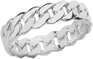 Celtic Rings Sterling Silver Gracious 5 mm Cuban Link Chain Eternity Band Ring