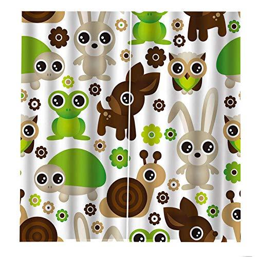 QGWMCD Verdunkelungsvorhänge Ösen Vorhang Weißes grünes braunes graues Tierkaninchen Blickdicht Gardinen Thermovorhang lidchtdicht für Wohnzimmer Schlafzimmer Küche, 140x250cm x2
