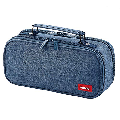 iSuperb Borsa di Cartoleria Astuccio Matite Grande Capacità Borsa di Cancelleria Penna Caso Custodia Organizzatore Pencil Case Stationery bag (Blu denim)