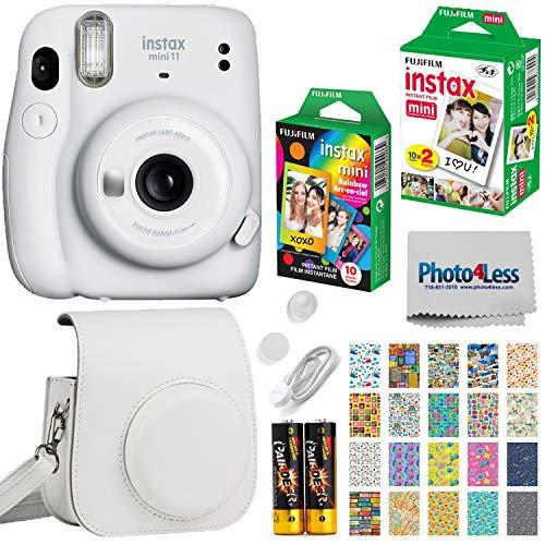 Fujifilm Instax Mini 11 Instant Camera + Fujifilm Instax Mini Twin Pack Instant Film (16437396) + Single Pack Rainbow Film + Case + Travel Stickers (Ice White)