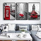 UIOLK Moderne Ville Gris Art Photo Paris Londres Rue Paysage Toile Peinture Voiture Affiche et Bureau à Domicile Chambre décoration