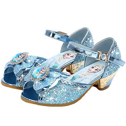 YOGLY Sandalias Zapatos de Tango Latino para Niños Vestir Fiesta Princesa de Tacón Primavera Verano Zapatillas de Baile Cosplay Fiesta Hielo Romance Lentejuelas Arco Pescado Boca