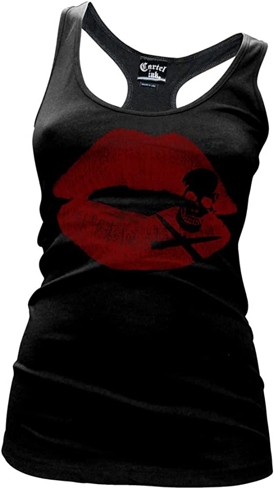 cartel Limited time sale ink Kiss of Death Women's Top Tank Back Racer El Paso Mall