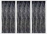 Paquete de 3 láminas malla metálica cortinas hoja del brillo puerta cortina decoración ventana para el banquete de boda de cumpleaños suministros 3ft*8ft(92*245cm) - Negro