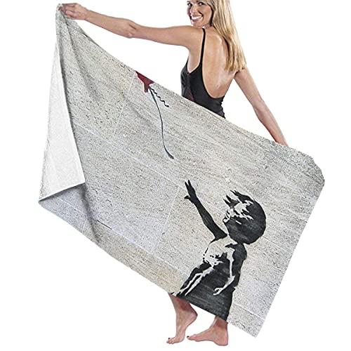Toallas de Playa La Chica de Banksy con un Globo Rojo Toalla de Piscina Esterilla de Yoga Seque Rápidamente Absorbente Prevención de Arena para Viaje 80*130 cm