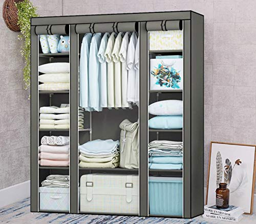 Xinwanhong Wardrobe Fabric Cabinet, Fabric Cabinet Folding Cabinet with Clothes Rail Fabric Wardrobe Stable Washable Wardrobe Fabric Cabinet,Brown,150 * 45 * 172 cm