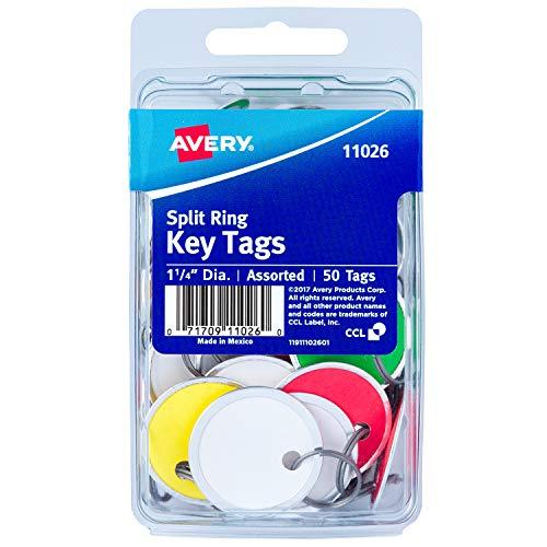 "Avery Metal Rim Key Tags, 1.25"" Diameter Tag, Metal Split Ring, Assorted Colors, 50 Tags (11026)"
