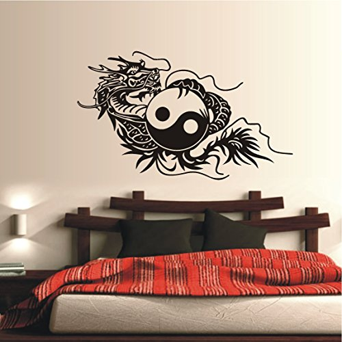 HomeTattoo ® WANDTATTOO Wandaufkleber China Drache Asia Style Feuerdrache Yin Yang 304 XL ( L x B ) ca. 68 x 105 cm (schwarz 070)