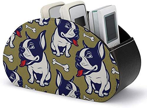 Caja organizadora de cuero de PU para control remoto de TV, estilo de dibujos animados Bulldog Francés Sonrisa Almacenamiento de accesorios de medios de impresión y organizador con 5 compartimentos e