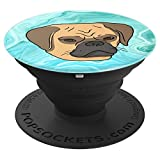 Funny Cute Teal Turquoise Marble Tan Pug Puggle Puppy PopSockets Grip and Stand for Phones and Tablets