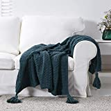"""Longhui bedding Navy Blue Fringe Chenille Knit Throw Blanket for Couch Sofa Bed with 5"""" Corner Tassels, Bonus Laundry Bag – Large 60x80"""" Decorative Knitted Blankets, Deep Blue, 3.5 pounds"""