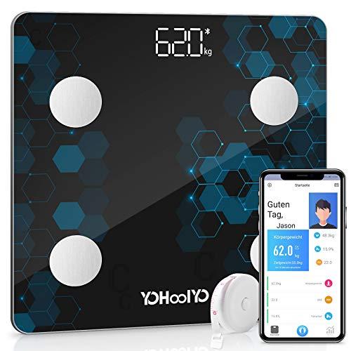 YOHOOLYO Körperfettwaage Smart Digitale Körperanalysewaage Bluetooth Waage mit App für IOS & Android